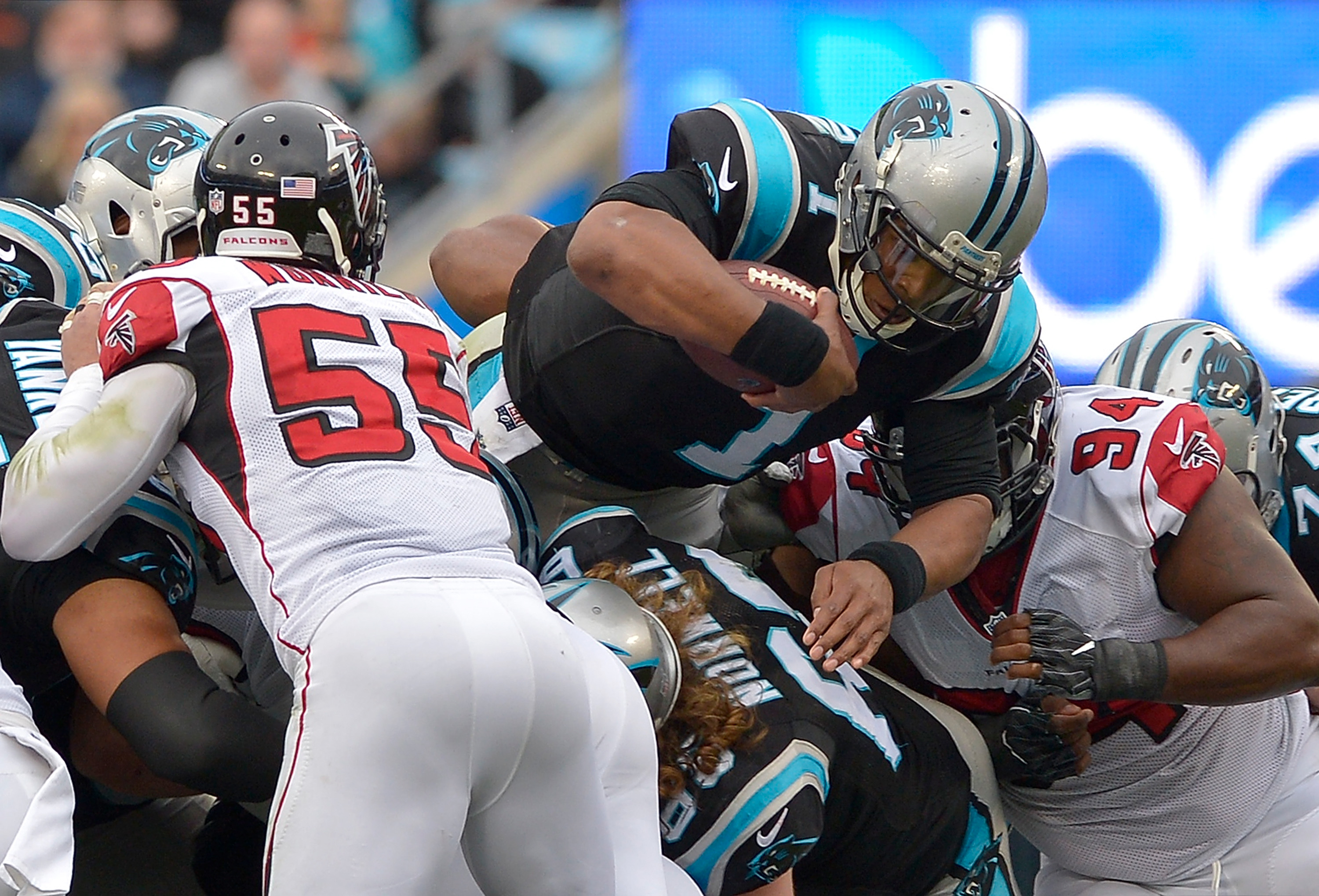 Panthers running game comes alive in 20-17 win over Falcons